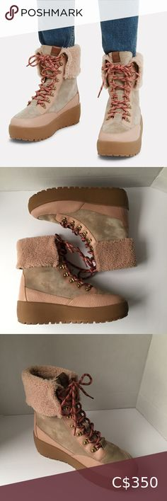 """✨HP✨ Coach Tyler Suede/Leather Lamb Shearling Boot Coach Tyler Suede/Leather Lamb Fur Boots. Colour is Dusty Pink/Nude Beige. Material: Suede - Leather - Lamb Fur (Italy) Description: This platform winter Boots with fold-over shearling are crafted of weatherproof suede and leather with lamb fur from Italy for cozy warmth. Lace-up rope Vamp. Leather/Shearling lining . Rubber Sole. Heel Height is 1 1/2 inches at front and 2"""" approx at back. Brand New with Original Tag. Coach Shoes Ankle Boots… Brown Booties, Lace Up Booties, Leather Booties, Ankle Booties, Suede Leather, Shearling Boots, Fur Boots, Silver Block Heels, Coach Boots"""