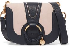 See by Chloé - Hana Small Textured-leather And Suede Shoulder Bag - Midnight blue