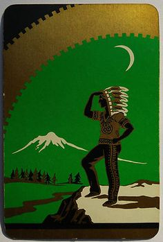"Vintage Swap Trading Card / Art Deco ""Indian in the Moonlight"", playing card. c1940s."