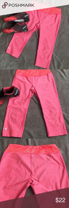 UnderArmour Fitted Capri Leggings Nice slick and thin material. Awesome coral color. Perfect for yoga, lifting, running or everyday wear! Hit mid calf or higher, totally fitted. Under Armour Pants Capris