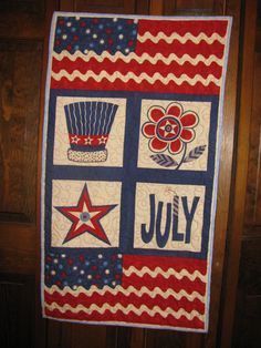 Quilted Wallhanging Happy 4th of July by annesquiltingfrenzy, $45.00