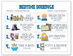Cute bedtime schedule for your kids
