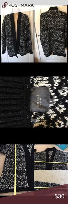 """Guess Chunky Knit Sweater Cardigan Oversized Style In great condition. Size Small. Black and white with glittery silver threading throughout. Pretty rhinestone detailing on one of the sleeves. This sweater has an """"oversized sweater"""" style. Please see pictures for approximate measurements. Guess Sweaters Cardigans"""