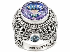 Artisan Collection Of Bali(Tm) 9.06ctw Chatty(Tm) Mystic(R) Quartz With Swiss Blue Topaz Silver Ring