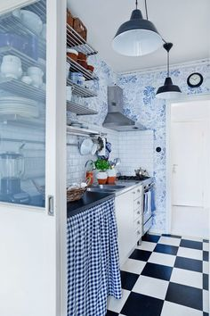 Blue black and whit kitchen I just love everything about it