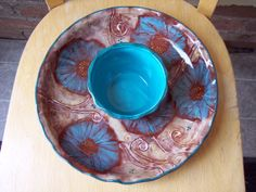Blue Poppy Chip and Dip by Jo @ Fat Cat Pottery available on Etsy