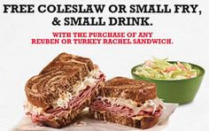 FREE Coleslaw or Small Fry & Small Drink w/p at Arby's on http://www.icravefreebies.com/
