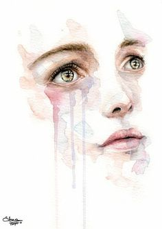 Watercolor under the supervision of Agnes-Cecile, at her solo exhibition in Rome. (Sorry for the bad resolution ç_ç ) Workshop with Agnes-Cecile Watercolor Art Face, Watercolor Portraits, Watercolor Paintings, Art Triste, Agnes Cecile, Drawing Eyes, Guache, Pablo Picasso, Portrait Art