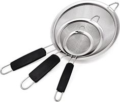 """Amazon.com: Makerstep Set of 3 Stainless Steel Fine Mesh Strainers. Graduated Sizes 3.38"""", 5.5"""", 7.87"""" Strainer Wire Sieve Sifter with Insulated Handle for Kitchen Tools Gadgets: Kitchen & Dining Memory Foam Kitchen Rug, Kitchen Kit, Kitchen Dining, Kitchen Cabinets, Kitchen Rugs And Mats, Kitchen Tools And Gadgets, Utensil Set, Wire"""