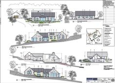 Toomevara 2010 by Darragh Quinn Architects Rendered Plans, Timber Buildings, Dry Stone, Passive House, Architectural Presentation, Stone Walls, House Extensions, Dream House Plans, Contours