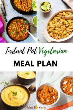 - Vegetarian Instant Pot Meal Plan for a Month! Eat healthy home cooked meals by planning your meals with this Vegetarian Instant Pot Meal Plan. Main dishes for each day of the month, along with sides and dessert options. Instant Pot Pressure Cooker, Pressure Cooker Recipes, One Pot Meals, No Cook Meals, Freezer Meals, Indian Food Recipes, Vegan Recipes, Vegan Food, Instapot Vegetarian Recipes