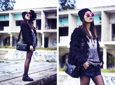 Zerouv Sunnies, H&M Jacket, Zara Bag, Sheinside Sweater, Wholesale7 Boots, Aimee Diy Necklace