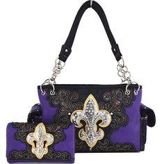 Western Cowgirl Concealed Carry Country Fleur De Lis Purse Handbag Messenger Shoulder Bag Wallet Set PP * You can find more details by visiting the image link.