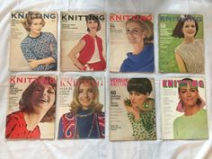 Lot 8 Vintage Vogue Knitting Back Issues Magazines Fashion News 1960s 1963-1969