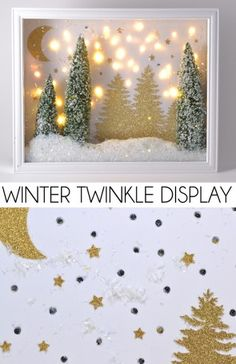 winter twinkle light display is so pretty! Make your own with bottle brushes, buffalo snow and a shadow box.This winter twinkle light display is so pretty! Make your own with bottle brushes, buffalo snow and a shadow box. Christmas Shadow Boxes, 3d Christmas, Christmas Projects, Christmas Decorations, Christmas Ornaments, Christmas Balls, Simple Christmas, Holiday Crafts, Holiday Decor