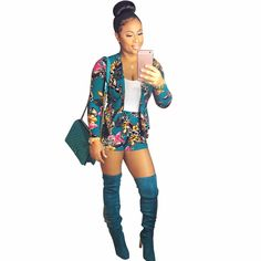 Green Tops+Short Pants Women Fashion Casual 2 PC Set Sexy Woman Jacket Long Sleeve Two Piece Track Suits ensemble femme vs pink #Affiliate