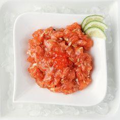 Salmon Tartar @77sushi Sashimi, Risotto, Shrimp, Salmon, Menu, Ethnic Recipes, Food, Menu Board Design, Essen