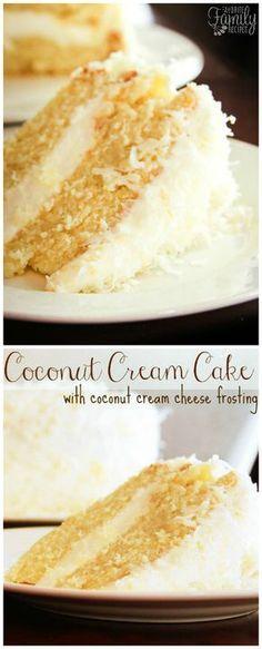 Coconut Cream Cake with Coconut Cream Cheese Frosting This Coconut Cream Cake is a coconut lovers dream! It is a coconut cake, with a rich and creamy coconut cream cheese frosting, sprinkled with toasted coconut. Kokos Desserts, Coconut Desserts, Köstliche Desserts, Coconut Recipes, Baking Recipes, Delicious Desserts, Coconut Cakes, Coconut Cake Frosting, Coconut Creme Cake Recipe