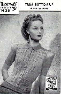 Ladies Button Up Cardigan Reformatted Vintage par NostalgiaPatterns