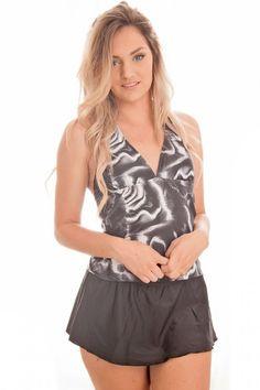 dbf1cb53157ec Dippin Daisys Swimwear 2PC Black Abstract Skirt Halter Tankini Sizes S-XXL  NWT  DippinDaisys