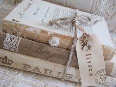 Vintage books, provence home decor