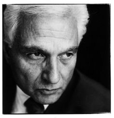 Jacques Derrida (1930-2004) French philosopher, born in French Algeria.  Photo by Steve Pyke, 1990 Paris
