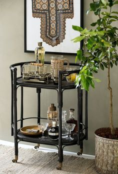 Rattan bar cart for serving summer fun in style - new home collection online now… Black Bar Cart, Gold Bar Cart, Bar Cart Decor, Bar Cart Styling, Summer House Interiors, Drink Table, Bars For Home, Interior Styling, Interior Inspiration