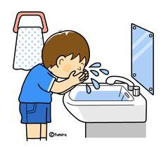 顔を洗う男の子のイラスト(カラー)