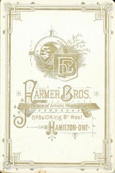 The Farmer Brothers in Hamilton, Ontario, vintage photo card. c. 1875(?)