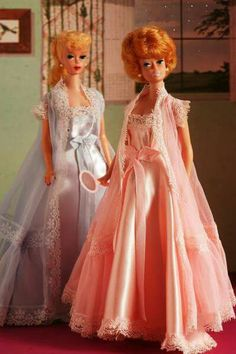 Barbies wearing pegnoirs by Helina. Barry Sturgill collection.