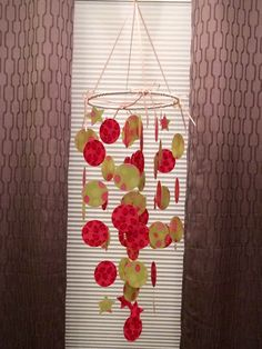 Paper mobile, Lady Bug mobile, baby girl baby mobile, pinks and greens, paper chandelier, infant stimulation, nursury mobile, baby nursery