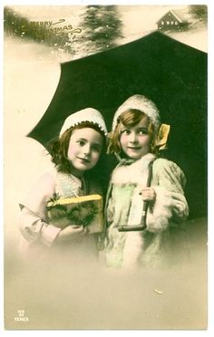 Vintage Pre 1914 Christmas Tinted Real Photo Postcard Two Cute Little Girls | eBay