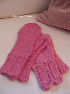 Pink mittens for my twin daugters with lace detail instead of garter stitch.