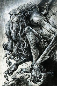 P Lovecraft痴 Cthulhu by Jon Wayshak Comic Art Hp Lovecraft, Lovecraft Cthulhu, Cthulhu Tattoo, Cthulhu Art, Arte Horror, Horror Art, Art Goth, Concept Art Landscape, Art Couple