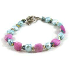Bracelet beaded pink and aqua by MiSuenos on Etsy, $10.00