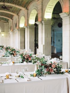 """""""We love the repetition of strong and minimal elements in these beautiful reception tablescapes. See more ideas like this one on Once Wed today! Wedding Flower Inspiration, Wedding Flowers, Wedding Place Settings, Botanical Wedding, Botanical Flowers, Once Wed, Wedding Arrangements, Summer Wedding, Gold Wedding"""