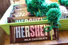 Hershey Bar Favors with Green Yarn Pom Poms - Irish Baby Shower Favor