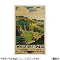 Yorkshire Dales England Vintage Travel Poster