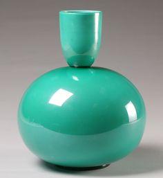 Turquoise glass vase
