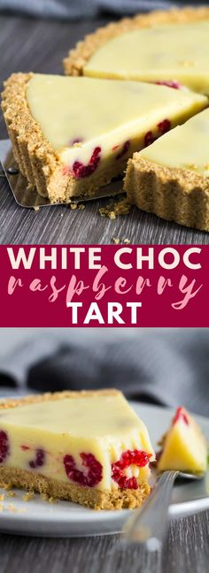 Chocolate Raspberry Tart - A deliciously rich and creamy no-bake white chocolate tart that is stuffed full of fresh raspberries, and has a sweet digestive biscuit crust! Chocolate And Raspberry Tart, Raspberry Tarts, Raspberry Desserts, Raspberry Cheesecake, Just Desserts, Delicious Desserts, Dessert Recipes, No Bake Summer Desserts, Cheesecake Desserts