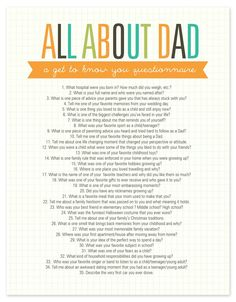 about Dad Questionnaire Free Printable All About Dad Questionnaire, many great questions for all family members.All About Dad Questionnaire, many great questions for all family members. Fathers Day Questionnaire, Getting To Know You, Just For You, Daddy Day, Daddy Daughter, Daughters, All About Mom, Fathers Day Crafts, Gift Ideas