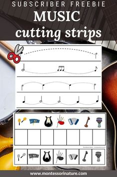 Join our subscriber list and download these Music cutting strips freebies from the subscriber library! Montessori Preschool, Blog Love, You Are Invited, Music Lessons, Free Printables, Homeschool, Music Theory, Activities, Education