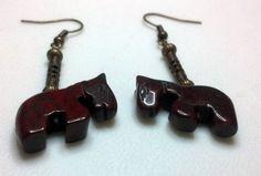 Jasper and Brass Horse Earrings  Reddish Brown by MyBuddyBling, $10.00