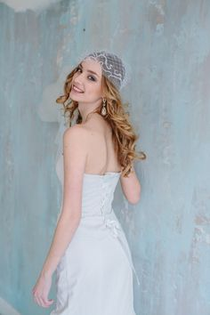Elegant ivory-colored wedding dress floor length, mermaid shape, strapless, with the ribbon lacing on the back and a lace tippet. $450 click on the picture to buy it now  #wed #wedding #goroshin #dress #bride #weddingdress