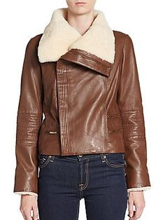 Badgley Mischka Shearling-Trimmed Leather Jacket - Brown - Size X Larg