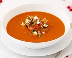 Tomato Fennel Soup with Tomato Olive Crostini