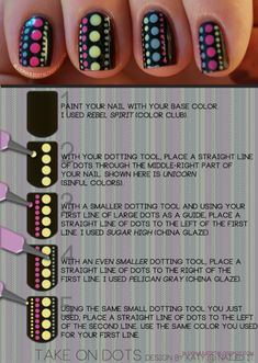 After receiving such great accolade from everyone about my Take On Dots manicure, I decided to make a tutorial for it. Enjoy, and do share your own recreations. I'd love to see what you guys come up with. Imagine the color possibilities…