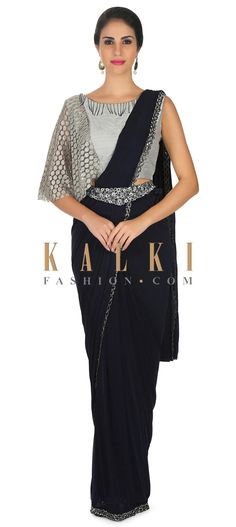 Navy blue saree features lycra with pre stitched pallav and fancy belt only on Kalki Lehenga, Sarees, Navy Blue Saree, Saree With Belt, Christmas Tree Dress, Desi Wear, Belt Online, Grey Blouse, Woman Clothing