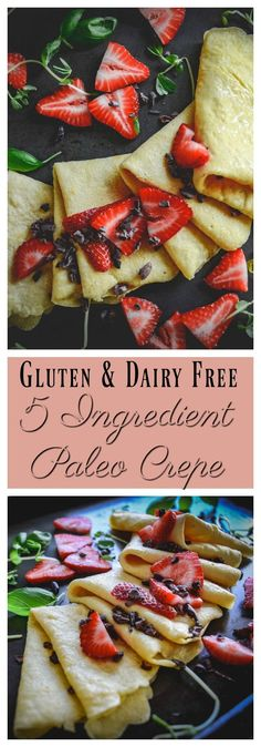 5 ingredient paleo crepes A quick paleo crepe recipe that's perfect for sweet or savory fillings. Gluten Free Crepes, Gluten Free Recipes For Breakfast, Paleo Breakfast, Dairy Free Recipes, Paleo Recipes, Real Food Recipes, Mexican Breakfast, Pancake Recipes, Paleo Food