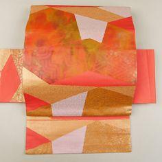 Orange nagoya obi /【名古屋帯】赤色抽象柄六通